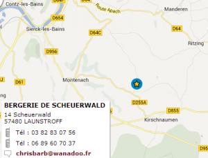 plan accès bergerie Scheuerwald et coordonnées